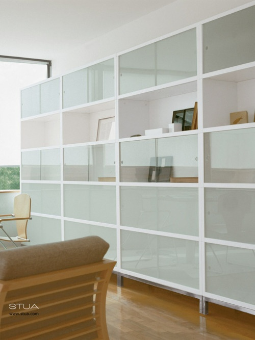 This is going to be in the office when we enough people to work in a larger  office space  - Sapporo storage system from STUA, a white stacking system designed by Jesus Gasca.STUA Design Etc