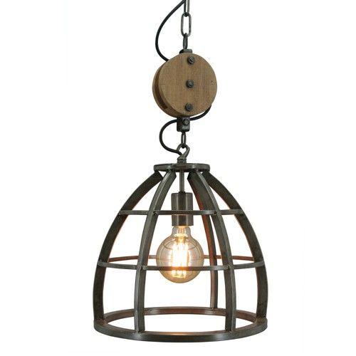 Zeer mooie industriële hanglamp ! Lamp : Materiaal : IJzer Kleur : Burned steel Diameter : 34 cm Hoogte exclusief ketting : 31 cm Aantal lichtpunten : 1 Fitting : E27 Max 60 Watt Exclusief lichtbron