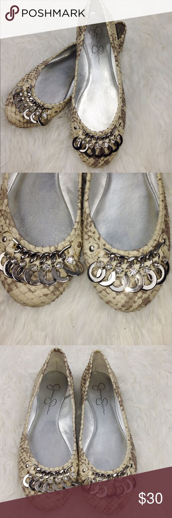 "SALE Jessica Simpson ""Early"" Embellished Flats Adorable Jessica Simpson ""Early"" Embellished Tan Snakeskin Flats Jessica Simpson Shoes Flats & Loafers"
