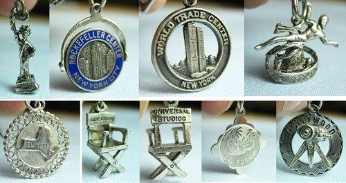 Bi-Coastal USA/NYC, California/Vintage Silver Charm Bracelet, Cape Cod, Hollywood, vintage hollywood bracelet, vintage hollywood charm bracelet, vintage hollywood costume jewelry, vintage hollywood jewelry
