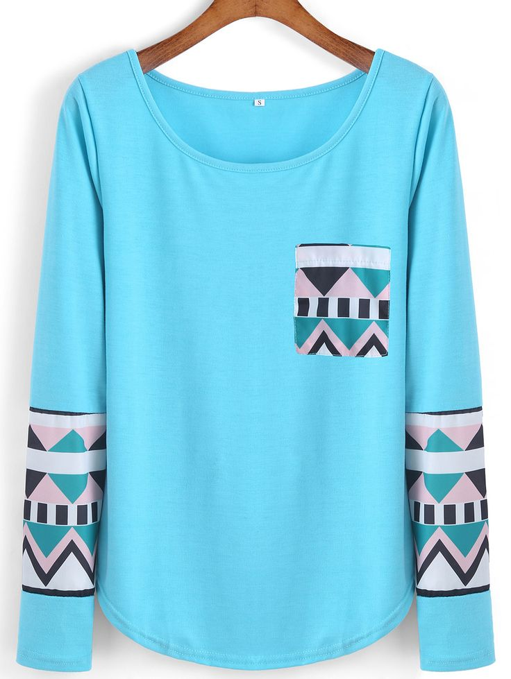 Long Sleeve Geometric Print T-shirt