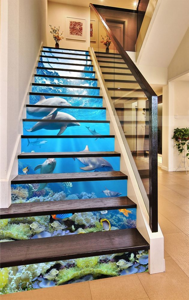 3d Sea Shark Stair Risers Decoration Photo Mural Vinyl Decal Wallpaper Au Home Garden Home Decor Decals Stic Stair Risers Stairs Design Staircase Design