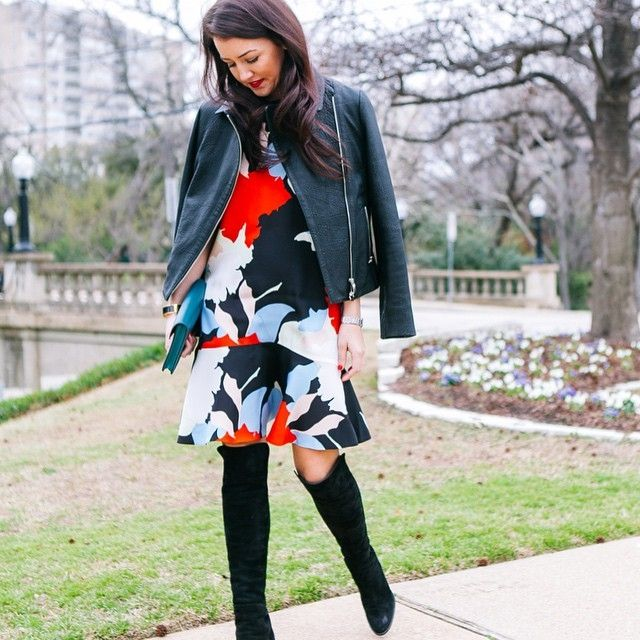 Click the photo to shop the look   Dallas Wardrobe wearing a Topshop dress, Reiss leather jacket, and Stuart Weitzman over-the-knee boots   Follow @liketoknowit on Pinterest for more outfit inspiration #liketkit