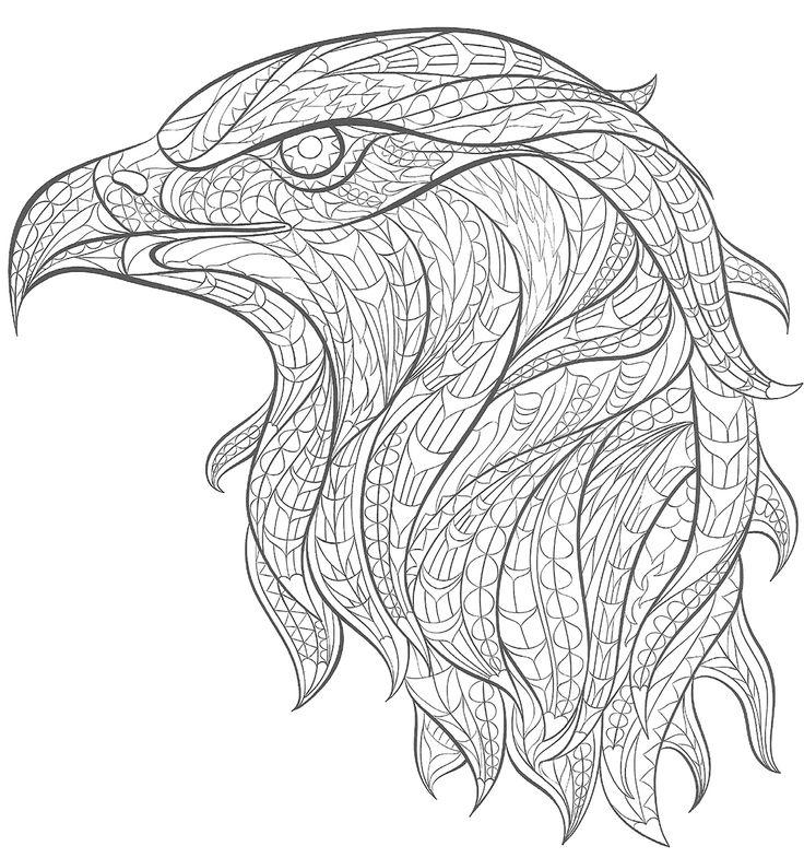tatouage aigle royal à colorier