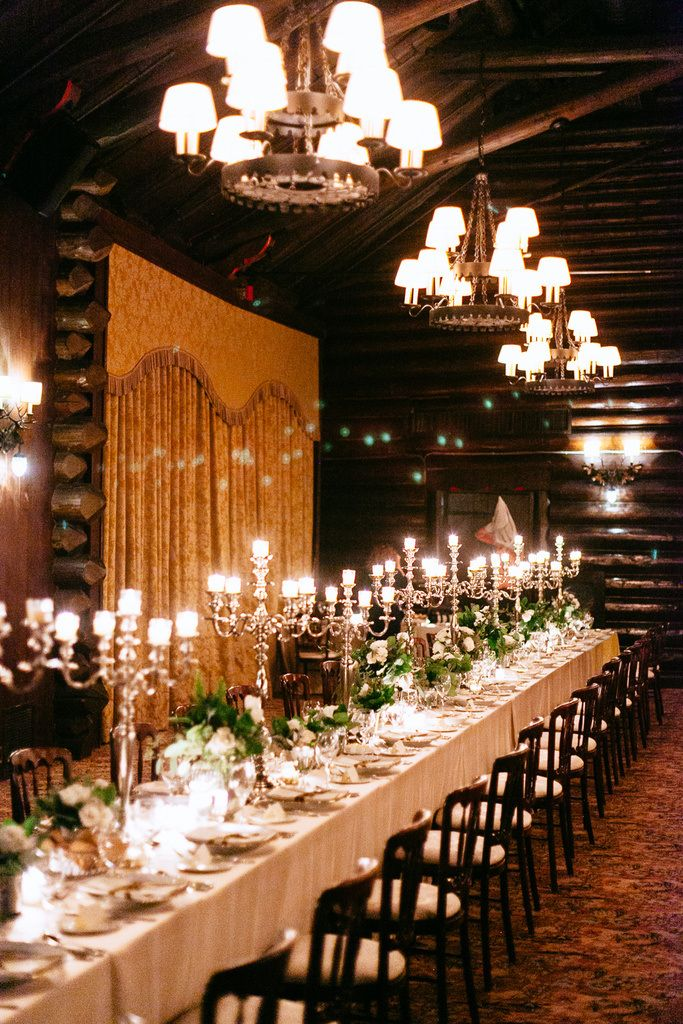 What a background for your reception: The perfect cozy room, candelabras and all, with enough rustic accents to make Yellowstone jealous. Let's all get married in this room. Want more of this wintery wedding? Check out the photographer's site. READ MORE on ELLEDecor.com: Leighton Meester's Charming Bachelorette Pad Is Now For Sale Alexander Wang's Newest Collaboration Includes An $8,800 Bean Bag Chair 50 Shades of Grey's Lead Set Designer on Setting the Mood for the Sexiest Movie of the ...