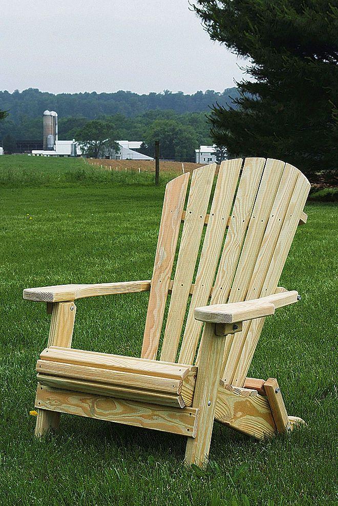 Pressure Treated Pine Unfinished Folding Adirondack Chair Amish