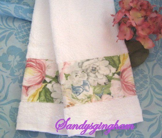2 Custom Decorated Hand Towels ~ Ralph Lauren fabric HOME LAKE