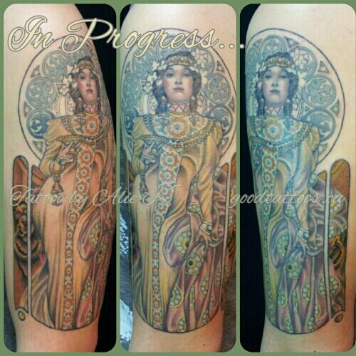 Alie K. (Mucha tattoo) This is it. This is what I want on my shoulder. May different colors though. But it's really well done!!