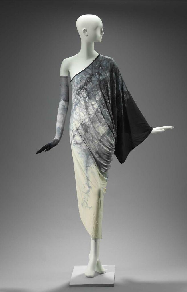 1976, England - Woman's ensemble (dress, glove) by Gnyuki Torimaru - Dress, glove: Synthetic knit (jersey) resist dyed
