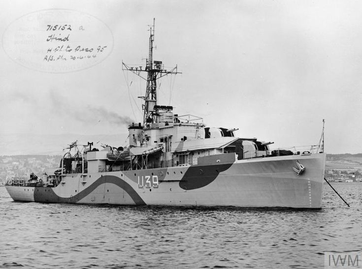 HMS Hind, a Black Swan class(modified) Sloop built by Denny of Dumbarton & commissioned 11/04/44. Served in the Cheannel durung Operation Neptune(D-Day ops). 09/44 was prepared for foreign service & joined Eastern Fleet in 11/44. Remained in Far East until '51., when she returned to UK & went to the Reserve Fleet Sub-Division at Hartlepool.Arrived Dunston on Tyne for breaking on 10/12/59.