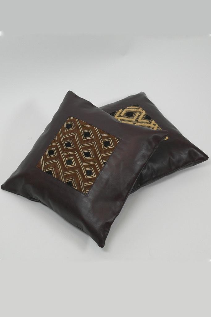 Bakuba & Leather Cushion, available from sapelle.com