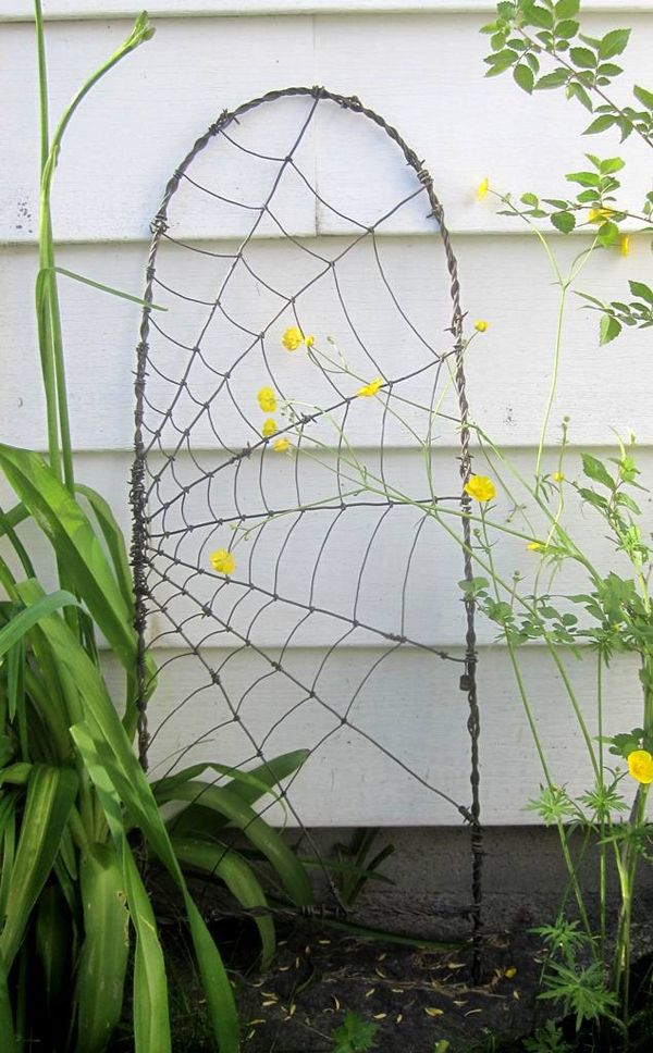 Garden Trellis Ideas | Barbed Wire Spider Web Garden Trellis by Dan Towell (Etsy)