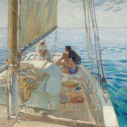 GARDIER du, Raoul Au mouillage dans le calme blanc, circa 1938 Huile sur