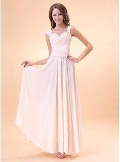 A-Line/Princess V-neck Floor-Length Chiffon Charmeuse Homecoming Dresses With Ruffle Beading (022014400)