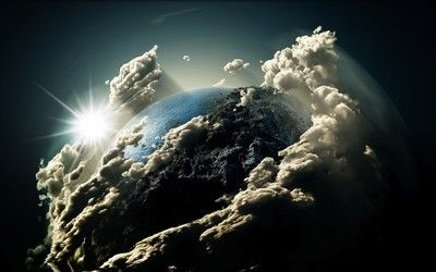 Clouds around the planet wallpaper