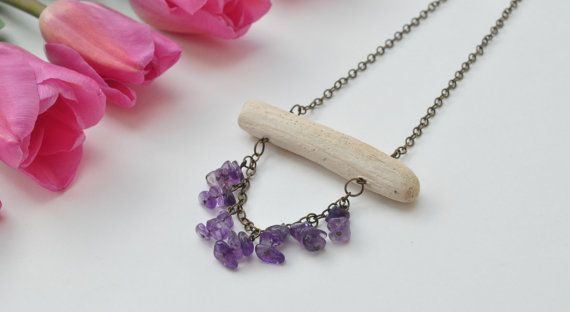 Natural Driftwood Necklace with Purple Amethyst Gemstone chips.Crystal healing jewellery.Lead & nickel free chain.Wood Necklace. $24.99