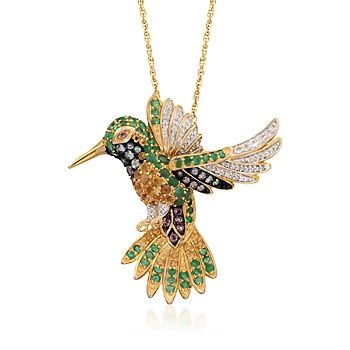 """1.80 ct. t.w. Multi-Stone Hummingbird Pin Pendant Necklace With Diamonds in 18kt Gold Over Sterling. 18"""""""
