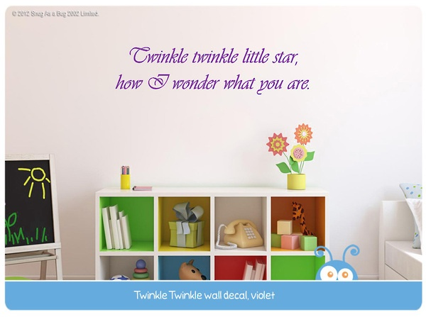 twinkle twinkle little star, wall decal quote