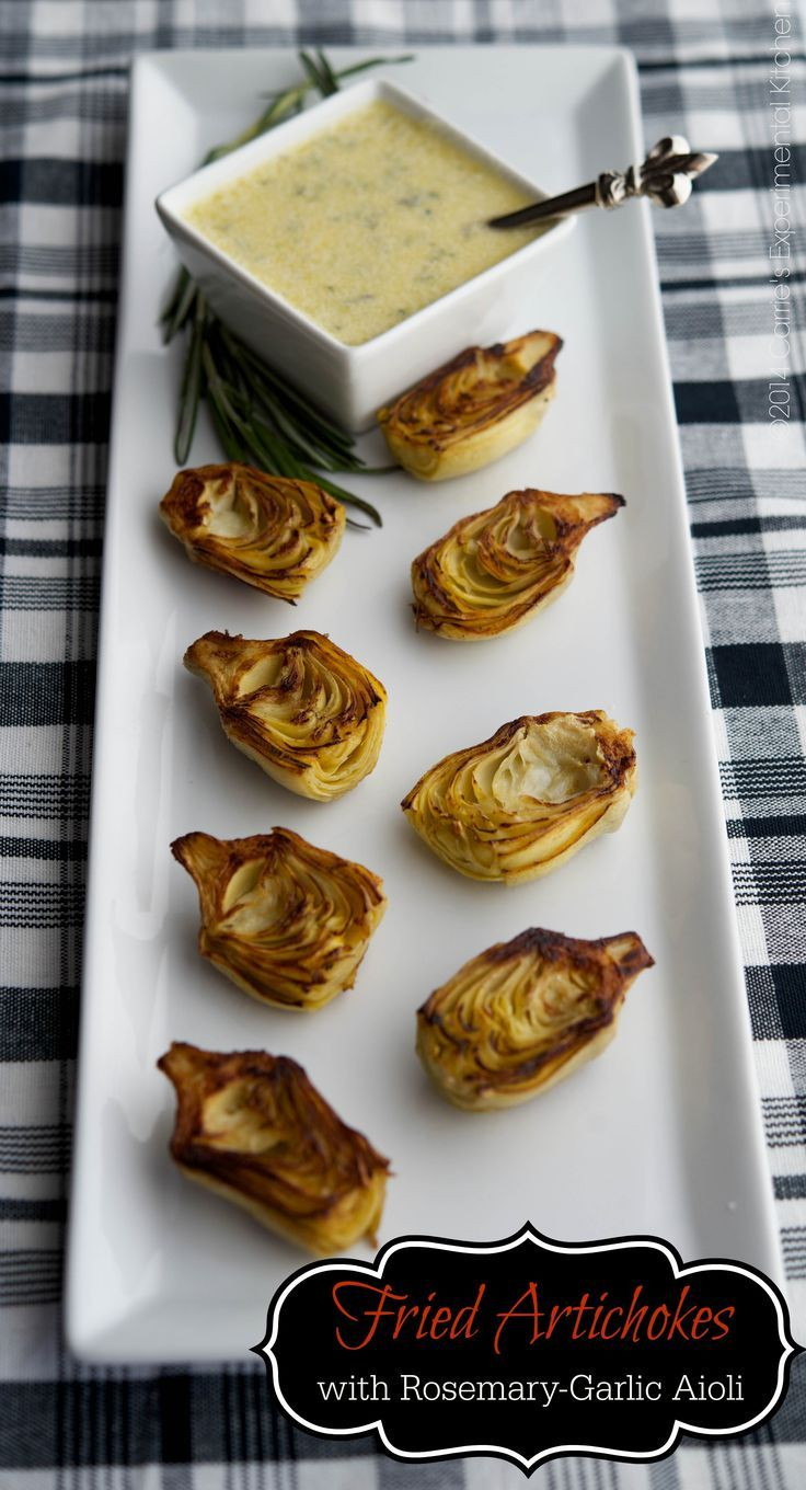 Fried Artichokes with Rosemary-Garlic Aioli   Carrie's Experimental Kitchen #appetizer