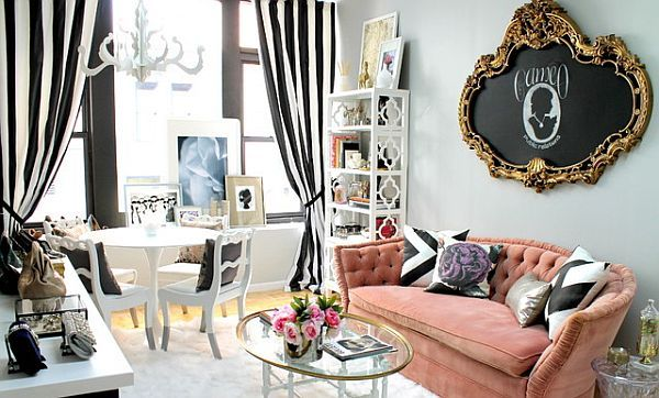 feminine home office design. I'm not so crazy about the colors and patterns but I love the furniture styles and arrangement.