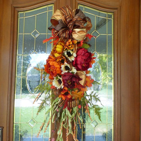 Fall door swag - Thanksgiving Door Swags - Door swags for Fall - Autumn Wreaths - Teardrop swag - French Country Decor - Door Swags & 96 best Fall Wreaths Door Swags u0026 Decorations images on Pinterest ... pezcame.com