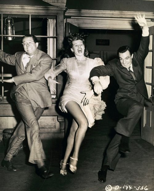 Phil Silvers, Rita Hayworth and Gene Kelly publicity shot for Cover Girl