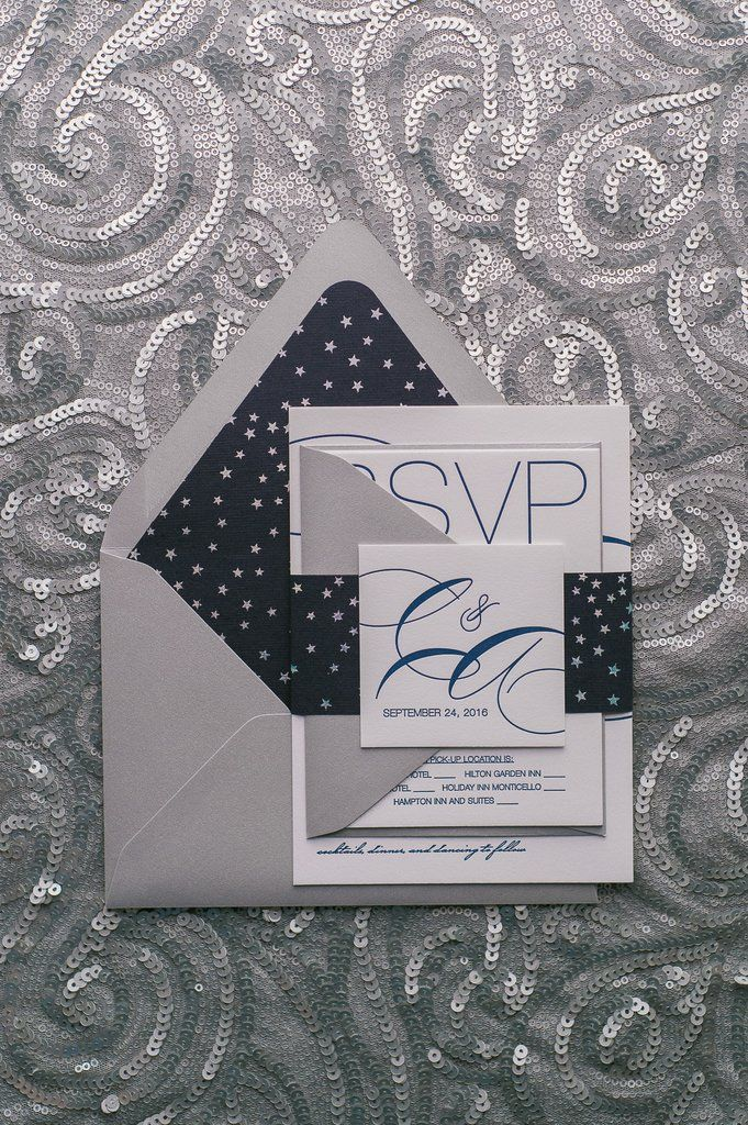 keralwedding card wordings in english%0A Modern Navy and Silver Foil Stars Wedding Invitations by Just Invite Me