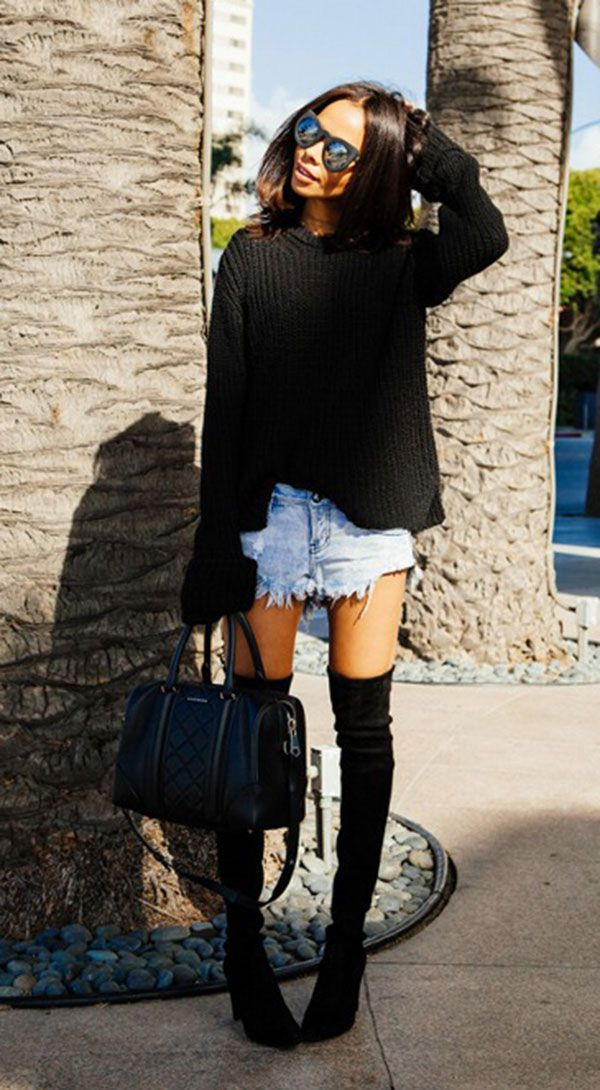 look short jeans destroyed e maxi tricot