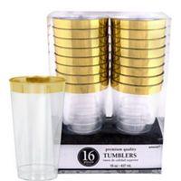 CLEAR Gold Border Premium Plastic Tumblers 10oz 16ct - Party City