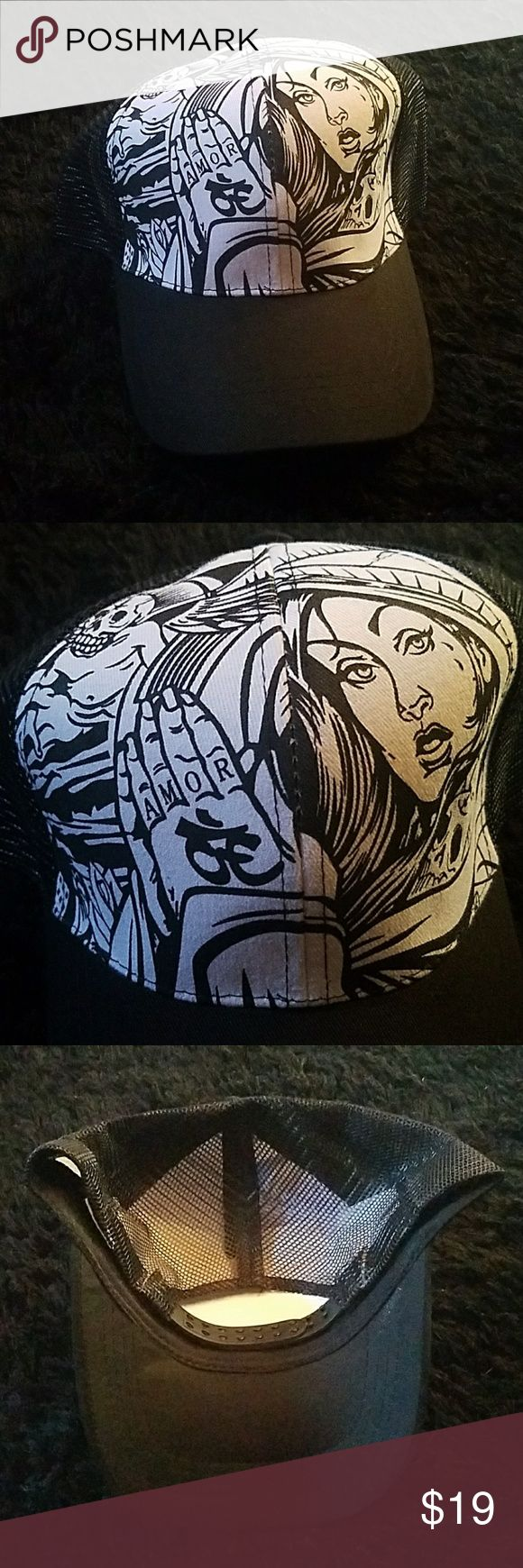 Tattoo mesh hat adjustable black NWOT snapback Tattoo mesh hat adjustable snapback black and white or color it your own way this is NWOT never worn great looking item Accessories Hats