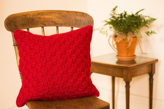 Red Cushion Cover, Red Accent Cushion Cover, Red Scatter Cushion Cover, Red Crochet Cushion Cover, Red Wool Cushion Cover, Red Throw Pillow