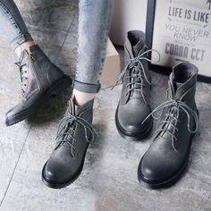 Vintage Women Flat Lace Up Side Zipper Suede Multi Color Ankle Boots Punk Riding