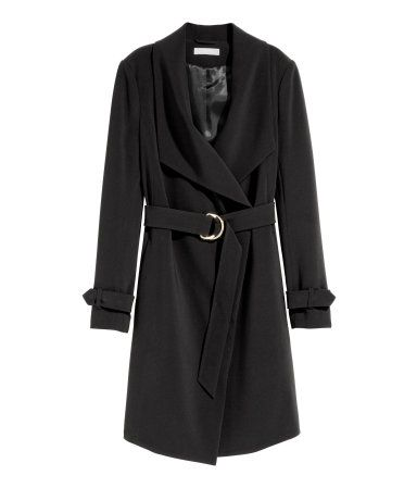 Coat with draped lapels | Black | Ladies | H&M AU