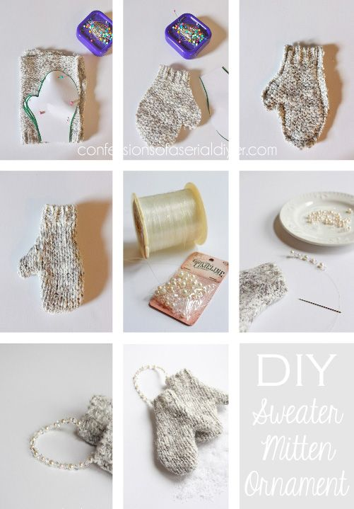 DIY mitten ornaments that require no knitting