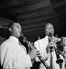 Jimmy Hamilton and Harry Carney, Aquarium NYC, Nov 1946 Gottlieb 03801.jpg