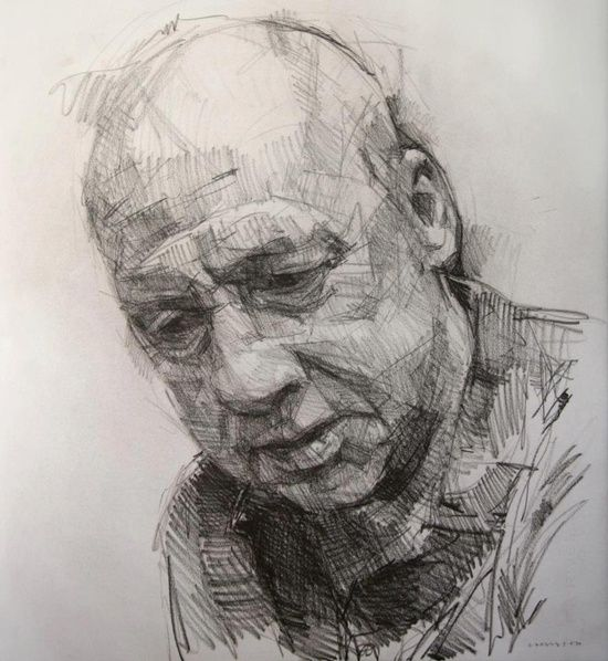 Colin Davidson - Study of Mark Knopfler 3  2012  crayon on paper  62 x 57 | http://awesomepaiting.blogspot.com