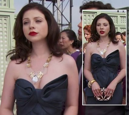 Georgina's black strapless gown and black and white purse on Gossip Girl.  Outfit details: http://wornontv.net/6161/