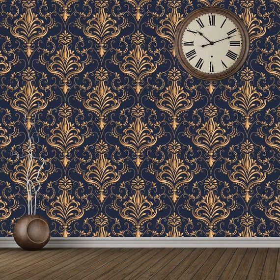 Metallic Gold Navy Blue Wallpaper Damask Decor Baroque Etsy Blue Wallpapers Mural Wallpaper Damask Decor