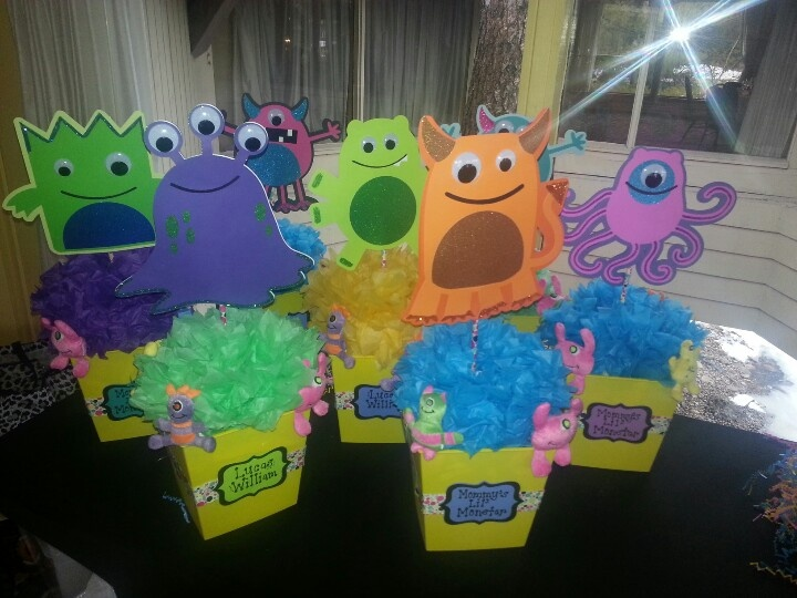 Mommy's Little Monster Baby Shower centerpieces