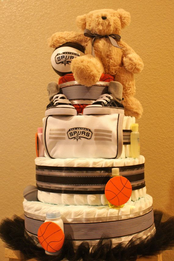 San Antonio Spurs 4 Tier Diaper Cake by JulesBabyBakery on Etsy, $200.00 #Spurs