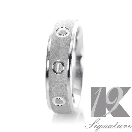 19K Wedding Band. $3028. This elegant and astonishing 19K hand crafted band, signifies the meticulous craftsmanship and attention to detail that distinguishes every piece in the 19K Signature Series Collection. This bridal collection is among the very best with a sand blast design.