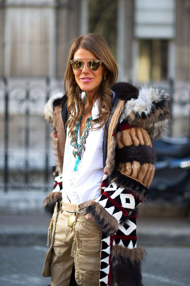 Anna Dello Russo in DSquared2 coat   - HarpersBAZAAR.com