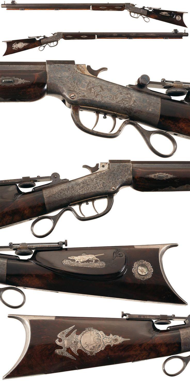 Engraved and silver mounted Ballard single shot target rifle crafted by Benjamin B. Loar, circa 1880.
