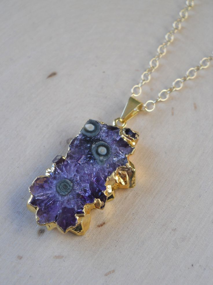 Amethyst Stalactite Necklace, Gold Dipped Amethyst Necklace, Amethyst Slice…