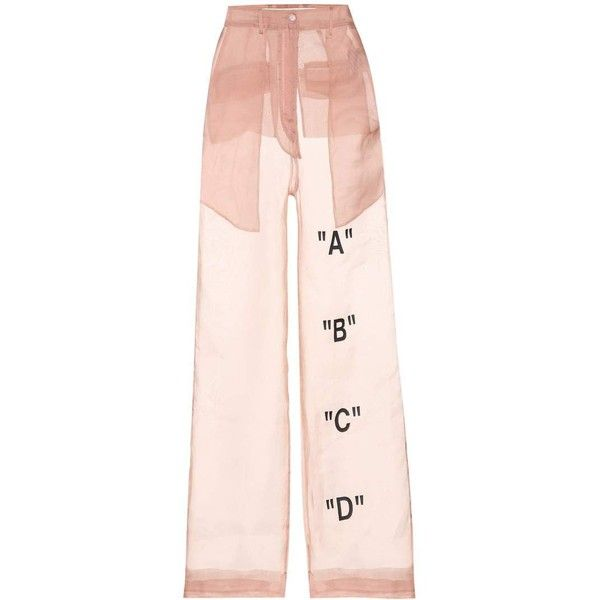 Off-White Tomboy Organza Trousers ($985) ❤ liked on Polyvore featuring pants, bottoms, pink, trousers, wide-leg, wide-leg trousers, wide leg pants, pink pants, pink wide leg pants and pink trousers