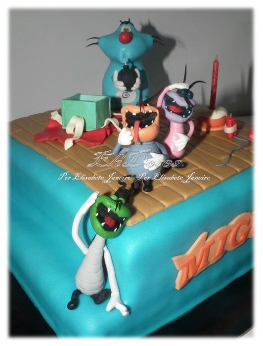 Oggy and the Cockroachers are Back - by EliDoces @ CakesDecor.com - cake decorating website