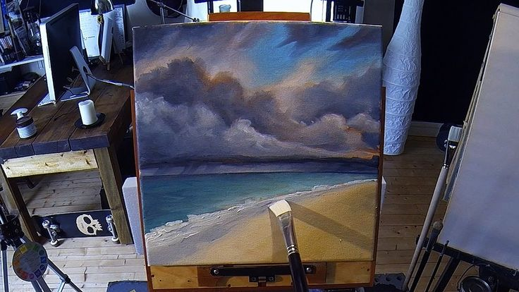 Acrylic Painting Lesson - Stormy Beach -  Preview