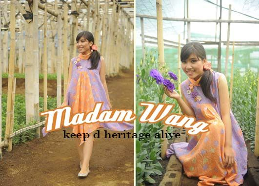 batik dress, purple orange dress