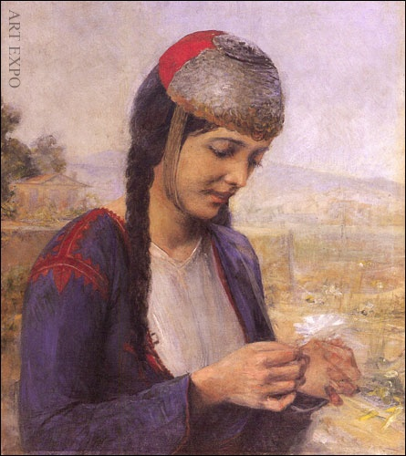 "Girl with Margarita, Iakovidis, ""Κοπέλα με μαργαρίτα"", Ιακωβίδης"