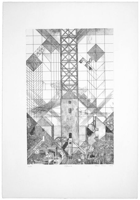 "Franco Purini, Riflessione, 1977, Acquaforte - acquatinta su carta Rosaspina, 70x50 cm, ciclo ""Pareti. 1977: sette incisioni"" #sketch"